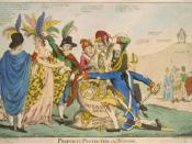 English: British satire of Franco-American relations after the XYZ Affair in May of 1798; 5 Frenchmen plunder female