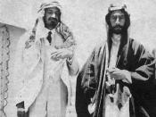 Emir Feisal I (right) and Chaim Weizmann (also wearing Arab dress as a sign of friendship) in Syria. At this time Feisal was living in Syria not Iraq. Português: 1918. Emir Faisal I e Chaim Weizmann