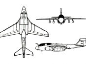 3 view drawing of an EA-6B used for recognition