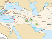 The Achaemenid empire at its greatest extent, including the satrap of ancient Maka