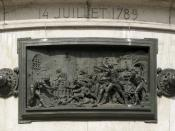 English: The Storming of the Bastille, 14 july 1789. Bronze relief at the