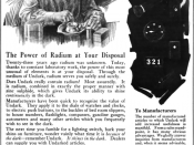 1921 magazine advertisement for Undark, a product of the Radium Luminous Material Corporation which was involved in the Radium Girls scandal. Retouched version