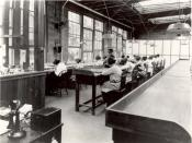 Radium dial painters working in a factory