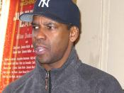 Denzel Washington after a performance of the Broadway play Julius Caesar in New York City