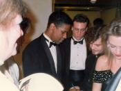 Denzel Washington in the lobby of the Dorothy Chandler Pavilion at the 62nd Annual Academy Awards, 3/26/90