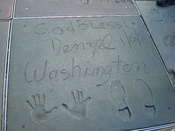 Washington's signature in front of Grauman's Chinese Theatre
