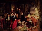 Franz Liszt playing a Graf piano at a imagined gathering of his friends. 1840 portrait commissioned by Conrad Graf from Josef Danhauser.