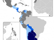 Map of countries with voseo phenomena: primary spoken and written form predominant, yet not as intensive use is regional or localized Spanish-speaking country, voseo non-existent