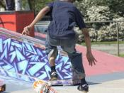 A skateboarder uses his feet to flip a board mid-flight; a fingerboarder would use fingers.