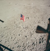 The flag of the United States seen from inside the Lunar Module