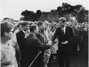 John F. Kennedy greets volunteers on August 28, 1961