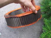 English: Example of an air filter that has been around 50,000 miles overdue to be replaced.