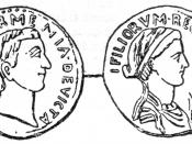 Denarius depicting Antony and Cleopatra. Sear# 440.