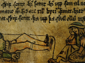 Illumination from AM 147 4to of two intoxicated 15th century Icelanders