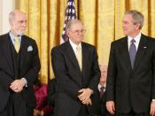 Cerf and Bob E. Kahn being awarded the Presidential Medal of Freedom by President George W. Bush