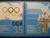 English: 1985 International Olympic Committee postage stamp of the German Democratic Republic