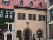 English: Martin Luther died in this house in 1546 Deutsch: Martin Luther starb im Jahr 1546 in diesem Haus