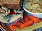 English: Chicken noodle soup and pastrami sandwich served at Amazing Grace Bakery & Cafe in Duluth, Minnesota