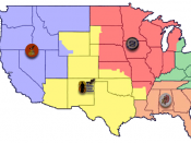 English: a map of the recruiting districts of the Marine Corps Recruiting Command