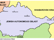 The Jewish Autonomous Oblast with the administrative center of Birobidzhan marked
