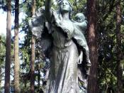 Statue of Sacajawea in Washington Park, Portland, viewed from the west. It was sculpted by Alice Cooper from Denver, Colorado and unveiled in 1905 at the Lewis & Clark Centennial Exposition. It depicts Sacajawea pointing the way westward. See also Eva Eme