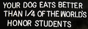 Your dog eats better than 1/4 of the world's honor students