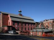 English: 1826 Brick Mill and James Fletcher's Forge, Whitinsville, Mass.