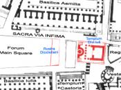 English: Plan of Roman Forum with the Temple of Divus Iulius and the Rostra Diocletiani in Red.