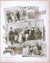 An early poster showing scenes from the first three Gilbert and Sullivan operas after Thespis