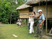 Demonstration of a typical Ecuadorian blowgun