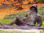 Life size bronze of Rip Van Winkle sculpted by Richard Masloski, copyright 2000. Located between the Town Hall and the Main Street School.