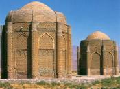 English: Kharaghan twin towers, Qazvin province, 1067 AD, Iran. Here are the tombs of two Seljukian princes. A devastating earthquake in 2002 severely damaged both towers. Photo by user Zereshk.