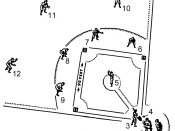 English: Line art drawing of a baseball field. Umpire Catcher Batter Home plate Pitcher First base Second base Shortstop Third base Right fielder Center fielder Left fielder