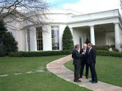 English: President George W. Bush with Dick Cheney and Ronald Rumsfeld outside the Oval Office.