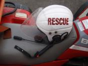 English: Lifeboatman's helmet, Southport lifeboat station, England.