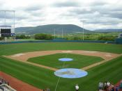 A view of Mount Nittany looking toward center field from the Press Box of Medlar Field at Lubrano Park.