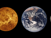 Size comparison of the four terrestrial planets Mercury, Venus, Earth and Mars and the terrestrial dwarf planet Ceres.