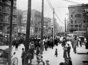 Anti-conscription parade at Victoria Square, Montreal, Quebec, Canada. Opposition to conscription in Canada was widespread (including farmers, employers, recent immigrants), but open opposition was left to French-speakers, primarily in Quebec.