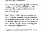 English: Transportation Security Administration: Notice of Baggage Inspection