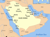 Map of the territory and area covered by present-day Saudi Arabia.