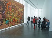 English: Viewers of the Jonas Burgert painting Second Day Nothing at the Denver Museum of Contemporary Art.
