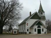 English: An old Methodist church, a week after its last worship service, in Ceylon, Minnesota.