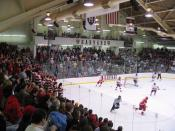 a game between Cornell and Harvard @ Bright Hockey Center, November 11, 2005. Cornell won, 4-3. The Harvard pep band is visible on the right, above the Harvard goaltender; the Cornell band is on the left in the red and white rugby shirts.