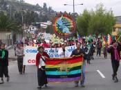 Members of the Confederation of Indigenous Nationalities of Ecuador (CONAIE) march in Quito, Ecuador against the 2002 summit of the Free Trade Area of the Americas (FTAA/ALCA).