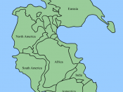 Map of Pangaea showing where today's continents were at the Permian–Triassic boundary
