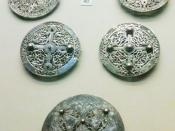 English: Early 9th century Anglo-Saxon silver brooches found at Pentney, Norfolk in 1977. On display at the British Museum, London.