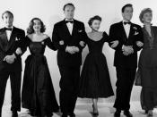 The principal cast of All About Eve. (Left to right) Gary Merrill, Bette Davis, George Sanders, Anne Baxter, Hugh Marlowe and Celeste Holm