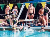 English: Australian swimmers at the training pool at the 1996 Atlanta Paralympic Games