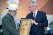 In Calgary His Holiness Mirza Masroor Ahmad (left) and Liberal Opposition Leader Stephane Dion at the opening inauguration of the Baitannur mosque, the largest in Canada.