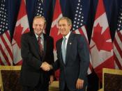 President George W. Bush and Canadian Prime Minister Jean Chretien address the media before their bilateral meeting on United States of America - Canada Smart Borders in Detroit, Michigan.